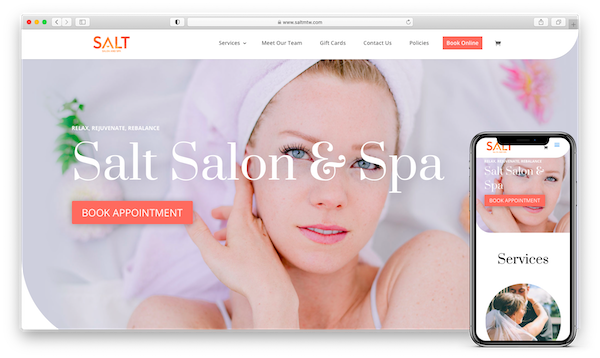 salt salon and spa website