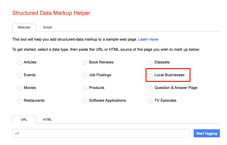 google structured markup helper